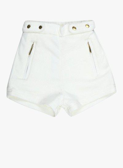 Gini & Jony Short For Boys Casual Solid Cotton Blend(White, Pack of 1)