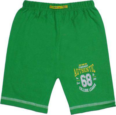 Sweet Angel Short For Boys & Girls Sports Printed Cotton Blend(Green, Pack of 1)