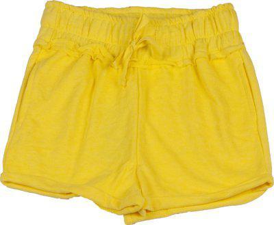 Sera Short For Girls Cotton Linen Blend, Nylon Blend(Yellow, Pack of 1)