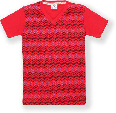 Tonyboy Boys Printed Cotton Blend T Shirt(Red, Pack of 1)