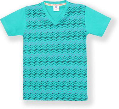 Tonyboy Boys Printed Cotton Blend T Shirt(Light Blue, Pack of 1)