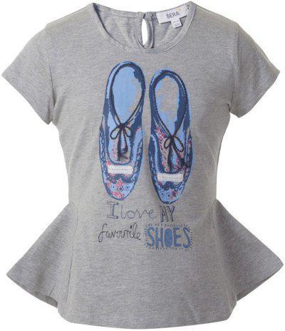 Sera Girls Grey Melange Cotton Drape swing embroidered tee Size: 7-8 Years