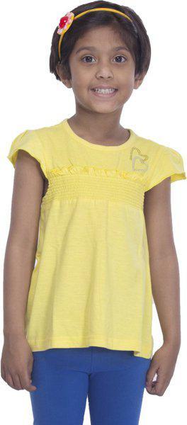 Sera Girls Solid T Shirt(Yellow)