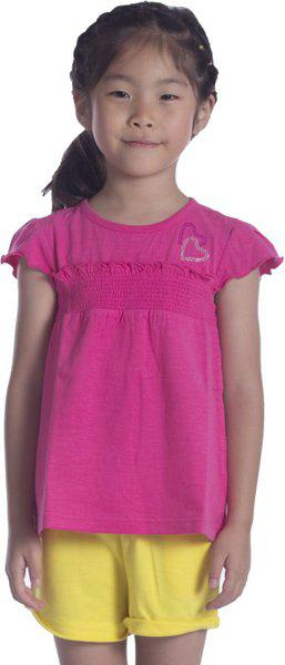 Sera Girls Solid T Shirt(Pink)