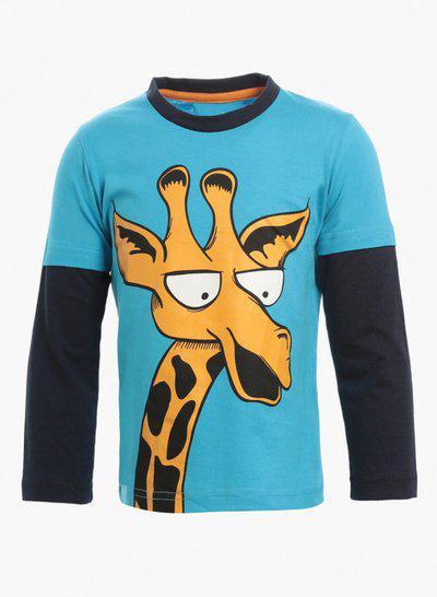 Lazy shark Boys Blue Tshirt - Cotton Fabric - Girraf Printed - Teess - Round Neck - For/1/2/3/4/5/6/7 Years Boys.