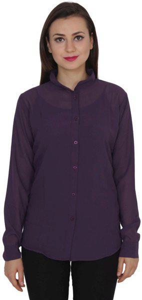 TeeMoods Women's Solid Casual Purple Shirt
