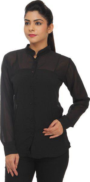 TeeMoods Women's Solid Casual Black Shirt