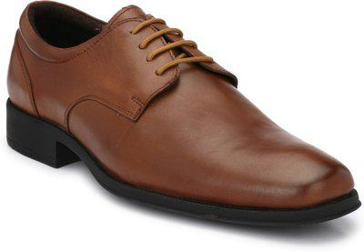 Delize Genuine Leather Darby Shoes Up Lace Up For Men(Brown)