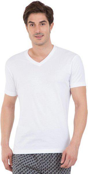Jockey Men White Solid V-neck Athleisure T-shirt 2726-0105
