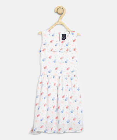 Allen Solly Junior Girls Midi/Knee Length Casual Dress(White, Sleeveless)