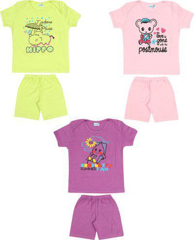 Dongli Boys & Girls Casual T-shirt Shorts(Multicolor)