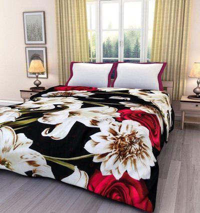 SUNJES Floral Double Blanket(Cotton, Multicolor)