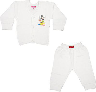 Yorker Top - Pyjama Set For Boys & Girls(White, Pack of 2)
