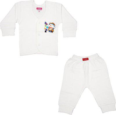 Yorker Top - Pyjama Set For Boy's & Girl's(White, Pack of 2)