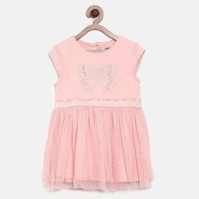 Mini Klub Girls Midi/Knee Length Casual Dress(Pink, Cap Sleeve)