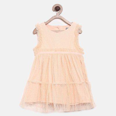 Mini Klub Girls Midi/Knee Length Casual Dress(Yellow, Cap Sleeve)