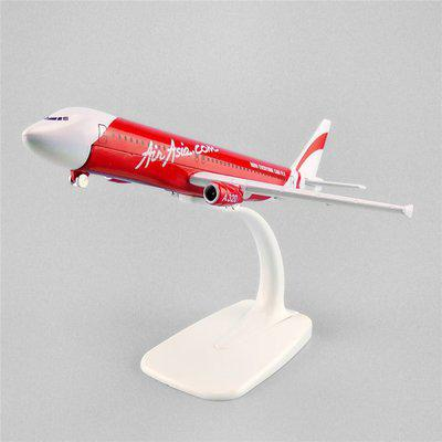 Sage Square 1:300 AirAsia Airbus A320 Scale Metal Model Aircraft, Highly Detailed Souvenir Model Aircraft Collection Metal Paper Weights  with Glossy(Set Of 1, White, Red)