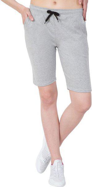 American-Elm Solid Women Grey Regular Shorts