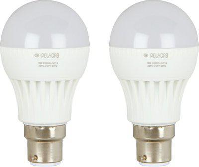 polycab 9 W Standard B22 LED Bulb(White, Pack of 2)