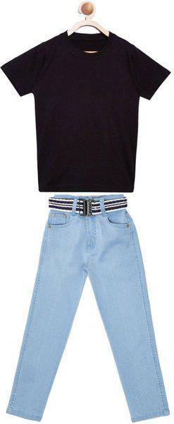 FirstClap Boys & Girls Casual Jeans T-shirt(Light Blue)