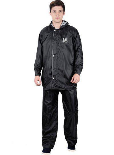 Fabseasons Apex707-Black-3XL Polyester Men's Reversible Waterproof Raincoat with Adjustable Hood and Reflector, 3XL (Black)