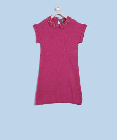 United Colors of Benetton Girls Midi/Knee Length Casual Dress(Pink, Half Sleeve)