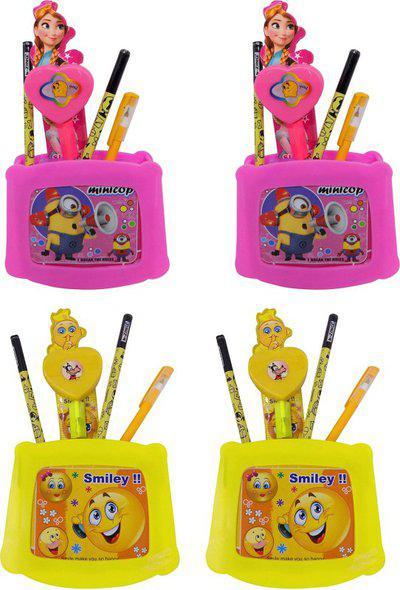 Fully Pencil Box Cartoon Art Plastic Pencil Boxes(Set of 2, Pink)