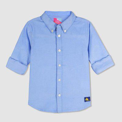 Cherry Crumble California Kids Cotton Solid Bold Corduroy Shirt (Unisex_Blue_18-24 Months)