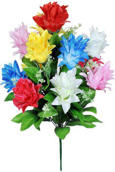 Yash Enterprises Multicolor Hibiscus 12 Multicolor Hibiscus Artificial Flower(17.6 inch, Pack of 12)