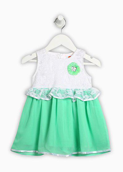 612 League Girls Midi/Knee Length Casual Dress(Green, Sleeveless)