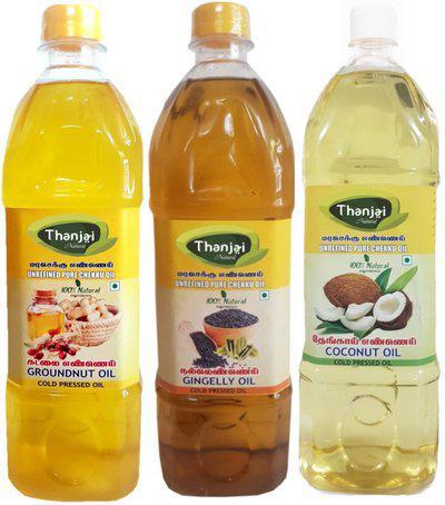 THANJAI NATURAL Natural Wooden Cold Pressed Coconut Groundnut Sesame oils 3000ml Gift Pack Groundnut Oil Plastic Bottle(3 x 1000 ml)
