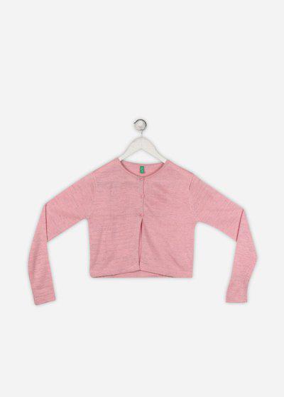Palm Tree Self Design Round Neck Casual Girls Pink Sweater