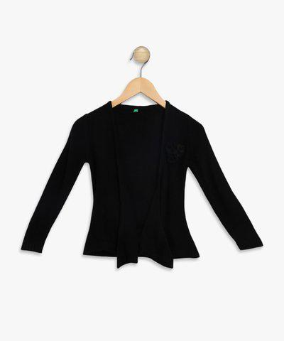 Palm Tree Solid Round Neck Casual Girls Black Sweater