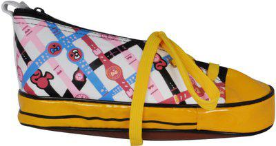EZ Life Kids Pencil Pouch in Shoe Shape - Kids Compass Box - Pencil Box for Kids School Sneakers Shoes Pencil - World Cup - Football - Yellow - PP Art Polyester Pencil Box(Set of 1, Yellow)