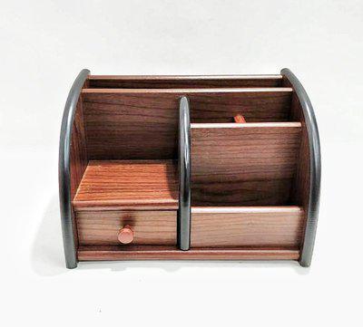 Jaycoknit 6 Compartments WOODEN Bro Deigo Wooden Brown Pen Stand Desk Supply Organizer(Brown)