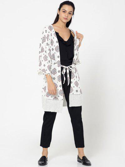 Only Printed Single Breasted Casual Women Blazer(white)