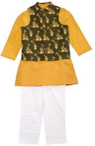 Tiber Taber Boys Festive & Party, Formal, Wedding Kurta, Waistcoat and Pyjama Set(Yellow Pack of 1)