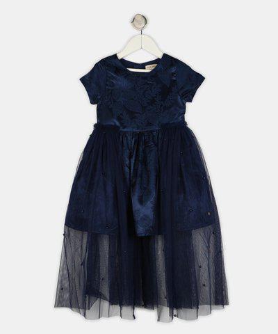 Gini & Jony Girls Midi/Knee Length Casual Dress(Dark Blue, Half Sleeve)