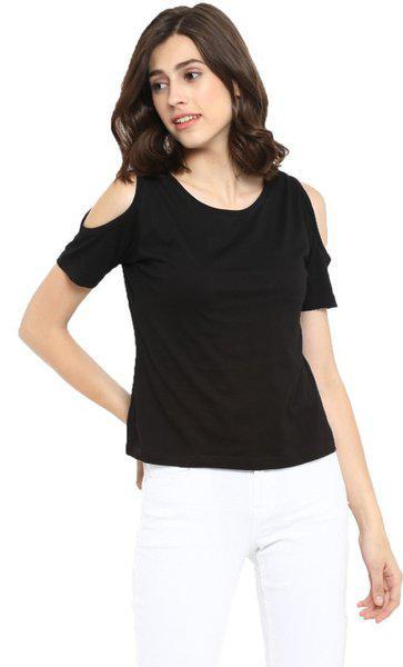 Appulse Womens Plain Regular fit Tshirt AP-WN-RN-SS-COLDSHLDR-T-428 Bk XX-Large