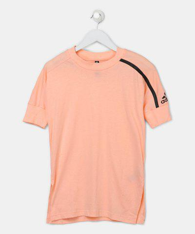ADIDAS Girls Solid Cotton Blend T Shirt(Pink, Pack of 1)