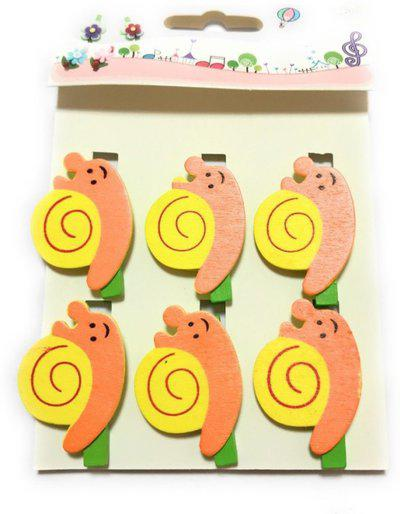 Nyrwana Cute Postcard Clothes Photo Small Wooden Photo Paper Peg Pin Clothespin Wooden Snail Clips 6 Pcs(Set of 6, Orange, Yellow)