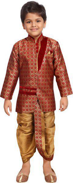 Kidling Indi Boys Festive & Party Kurta and Dhoti Pant Set(Maroon Pack of 1)