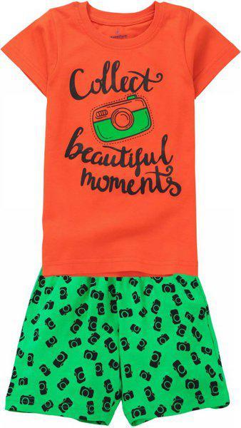 KiddoPanti Girl's Camera Print Top & AOP Shorts Set, Red Orange, 1-2Y