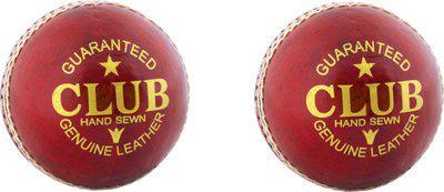 Diablo Sports Leather Club Cricket Ball Red Pack of 2 (2Part) Cricket Leather Ball(Pack of 2, Red)