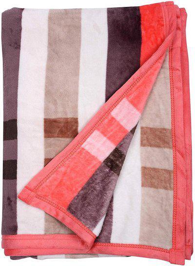 AJANTA HANDLOOM HOUSE Checkered Single AC Blanket(Woollen Blend, WHITE & RED)