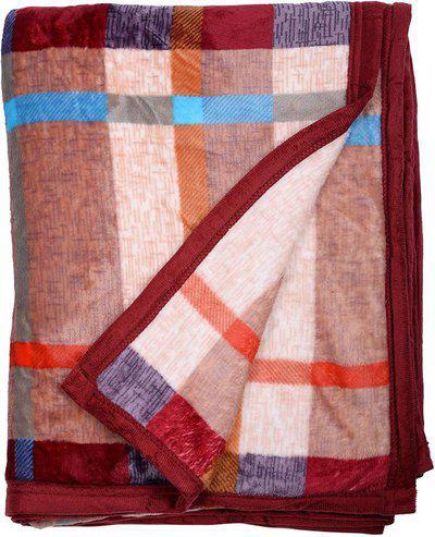 AJANTA HANDLOOM HOUSE Checkered Double AC Blanket(Woollen Blend, BLUE & RED)