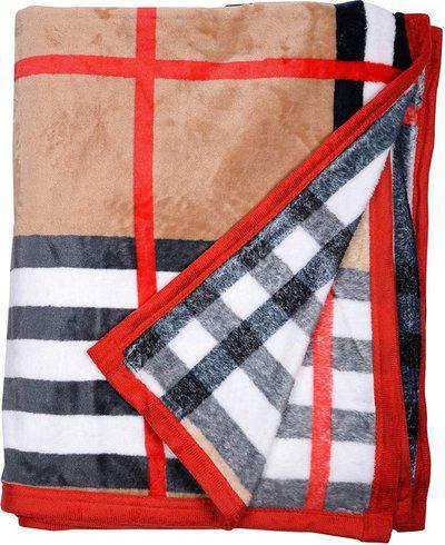 AJANTA HANDLOOM HOUSE Checkered Double AC Blanket(Woollen Blend, WHITE & RED)