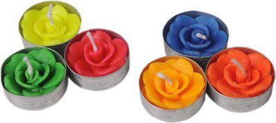 K kudos Enterprise roseshapecandles018 Candle(Multicolor, Pack of 18)