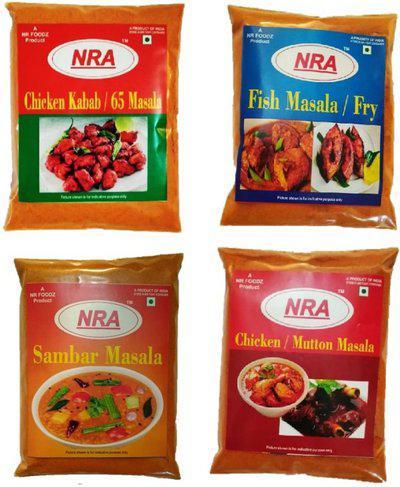 NRA Masala Pack of400g (100g each) - Sambar masala, Chicken kabab/65 masala, Chicken /mutton masala (2in1), Fish curry / Fish Fry masala.(4 x 100 g)