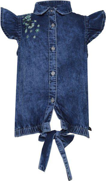 Tales & Stories Baby Girls Casual Cotton Blend Shirt Style Top(Blue, Pack of 1)